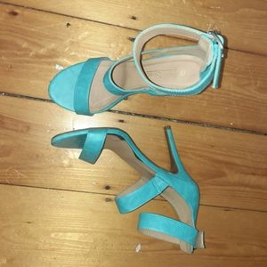 Teal ankle strap strappy heels